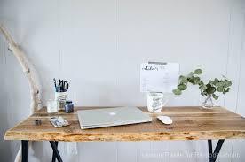 Easy Diy Desk Remodelaholic Ikea Hack Easy Diy Live Edge Desk With Trestle Legs