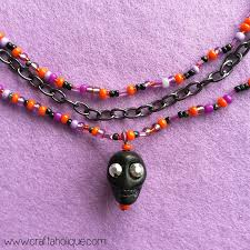 diy beaded pendant necklace images Halloween multi strand necklace tutorial with skull pendant jpg