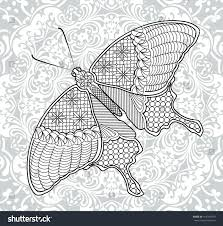 coloring pages butterfly on background mandala stock vector