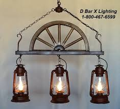 Lantern Ceiling Light Fixtures Dx749 24 3 Rustic Wagon Wheel Kitchen Light With Hanging Lanterns
