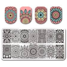 born pretty rectangle nail stamping template floral design 12 6cm
