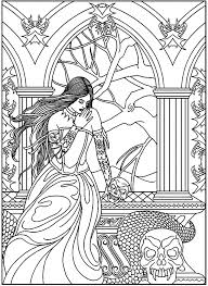 fantasy woman skulls snake myths u0026 legends coloring pages for