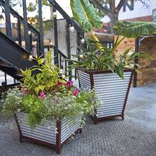 Self Watering Planters Galvanized Corrugated Metal Self Watering Planters So That U0027s Cool