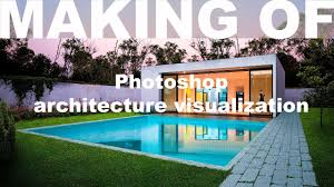 House With Pool Making Of Photoshop Architecture Visualization 6 Modern House