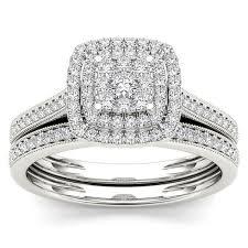bridal set de couer 10k gold 1 3ct tdw diamond cluster halo bridal set free