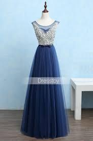 dark blue round neck sequin tulle long prom dress evening dress