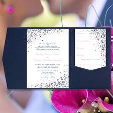 navy and blush wedding invitations pocket wedding invitations confetti navy blue and