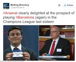 Chions League Memes - arsenal draw barcelona in chions league last 16 and twitter