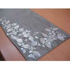 beaded table runner silver beautiful butterfly mother of pearl