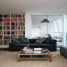Modern Home Library Interior Design Triple D White Apartment With Medium Grain Wood Flooring And