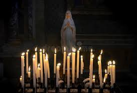 vigil lights catholic church virgin mary with candlelights stock photo image of glowing plant