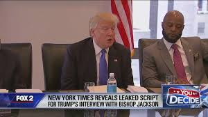 new york times report reveals report reveals leaked script for trump s detroit interview at