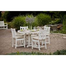 polywood traditional garden white 5 piece patio dining set pws134