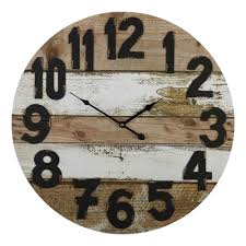 large round 58cm brown u0026 white rustic wooden wall clock interior