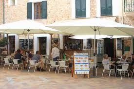 cosy cuisine cosy cafe terrace in fornalutx majorca editorial stock image