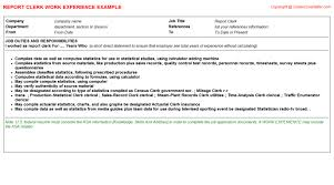 Sample Of Resume With Work Experience by Report Clerk Cv Work Experience