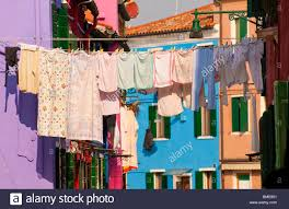 Burano Italy Burano Italy Laundry Hanging Out To Dry In The Streets Near