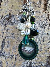 Personalized Rear View Mirror Charms Philadelphia Eagles Rear View Mirror Charm Purse Charm And Key