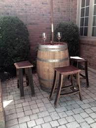 Wine Barrel Bar Table Wine Barrel Pub Table And Stools Perfect For In The Kitchen