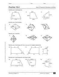 practice 10 2 areas of trapezoids rhombuses and kites 9th