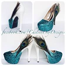 wedding shoes pumps glitter high heels peacock feather pumps teal white ombre