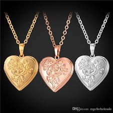 floating heart pendant necklace images Wholesale u7 floating locket flower heart pendant necklace 18k jpg