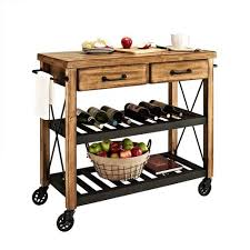 industrial iron wood kitchen trolley natural black buy kitchen crosley furniture cf3008 na roots rack industrial kitchen cart