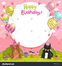 happy birthday card background cat dog stock vector 320899175