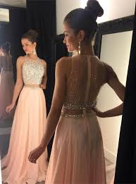formal dresses fashion 2 pieces beading prom dress modern scoop a line