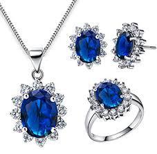 blue sapphire necklace set images Floray ladies elegant blue sapphire pendant necklace and earrings jpg