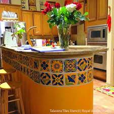 Mexican Kitchen Curtains by Mexican Talavera Tiles Wall U0026 Furniture Stencils Royal Design
