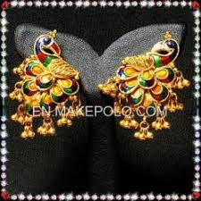 peacock design earrings golden peacock earring 18k gold peacock earring design indian gold