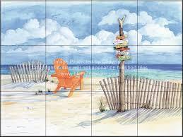 Ceramic Tile Mural Backsplash by Backsplash Designs Beach Scene Tiles Beach Signs Oceanview
