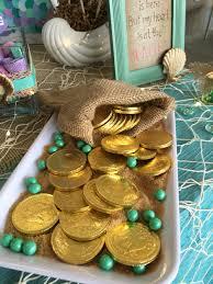 chocolate coins in mermaid candy bar little mermaid party ideas