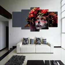 day of the dead home decor canvas painting cuadros home decor 5 panel day of the dead