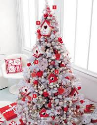 astounding white christmas tree with red decorations 39 for room
