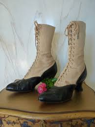 victorian lace up boots with spats ca 1900 www antique gown com