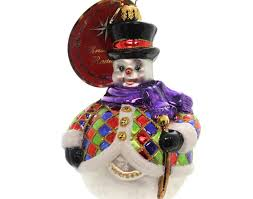 ornament christopher radko chilly quin glass snowman ornament