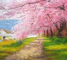 decorative artwork for homes framed oil painting pink cherry blossom landscape decorative artwork