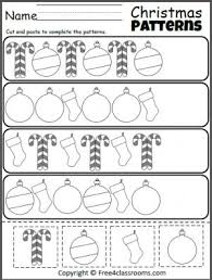 free christmas cut paste patterns worksheet teacher ideas
