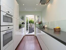Small White Galley Kitchens Wine Refrigerator Full Height Cabinets Recessed Lighting Wall Oven