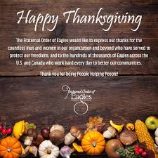 happy thanksgiving day everyone fraternal order of eagles