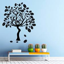 Kitchen Interior Decor by Wall Vinyl Decal Sticker Tree Art Coffee Beans Cafe Kitchen