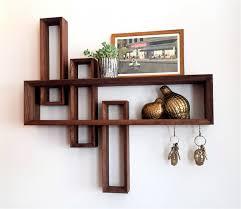 Walnut Bookshelves Entryway Organizer Mid Century Modern Floating Shelf