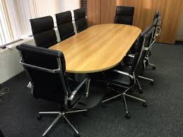Beech Boardroom Table Used Round Office Table With A Trumpet Base In Beech
