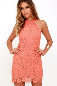 lace dress coral orange dress sleeveless dress 64 00