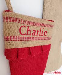 attempting aloha personalized burlap stockings