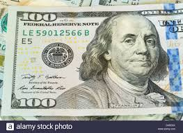 design of us currency one hundred dollar bill stock photo