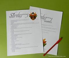 thanksgiving turkey trivia and a paper pumpkin with tags check it