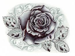 black and grey rose with drops tattoo design in 2017 real photo